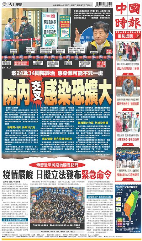 中國時報 2020年3月3日