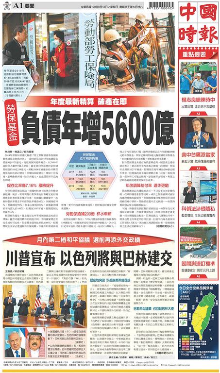 中國時報 2020年9月13日